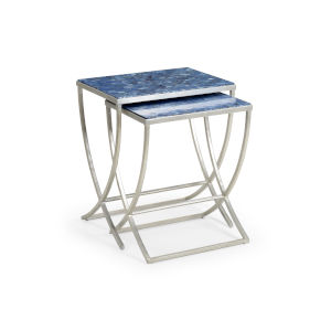 Blue 24-Inch Talitha Tables, Set of 2