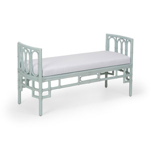Blue 54-Inch Camilla Bench with White Fabric Cushion