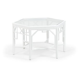 White 32-Inch Wild Palm Cocktail Table