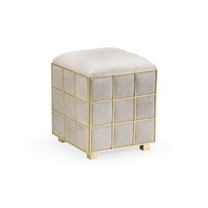 White 17-Inch Square Hide Stool
