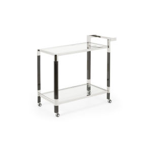 Boulevardier Polished Nickel and Black Bar Cart with Clear Glass