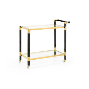 Boulevardier Gold and Black Bar Cart with Clear Glass