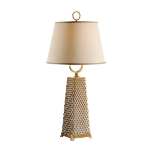 Gold One-Light 11-Inch Dotted Pyramid Lamp