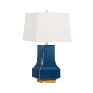 Off White and Blue One-Light 6-Inch Malone Lamp
