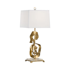 White and Gold One-Light 9-Inch Ruffle Lamp