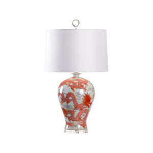 Off White and Red One-Light 7-Inch Prosperity Lamp - Red