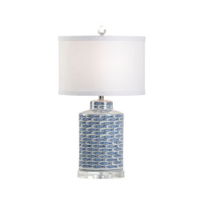Off White and Blue One-Light 8-Inch Fish Tail Lamp