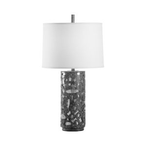 Off White and Gray One-Light 6-Inch Rustic Glam Lamp