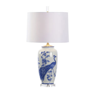 White and Blue One-Light 10-Inch Evelyn Lamp
