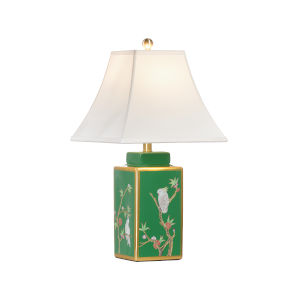 Polly Davis Green, Gold and White One-Light Table Lamp
