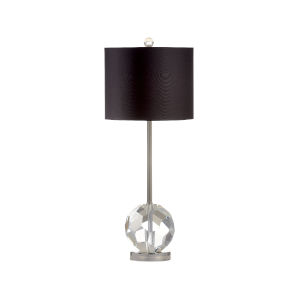 Clear with Black Shade One-Light Crystal Tee Table Lamp