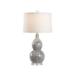 Teal and White One-Light Snow Leopard Table Lamp