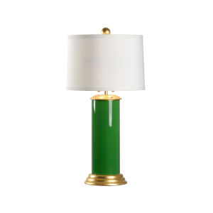 Savannah Parrot Green, Gold and White Two-Light Table Lamp