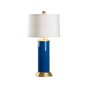 Savannah Blue, Gold and White Two-Light Table Lamp