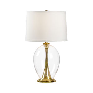 Allanah Polished Brass and White One-Light Table Lamp
