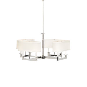 Silver Eight-Light 34-Inch Long Squares Chandelier