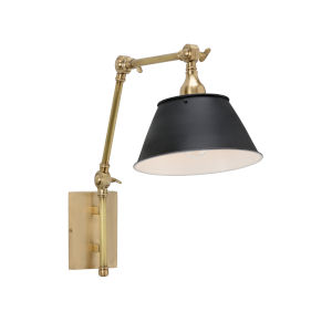 Black and Brass One-Light 10-Inch Franklin Swing Arm