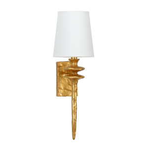 Off White and Gold One-Light 4-Inch Saxon Sconce