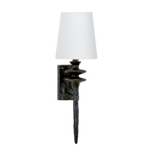 Off White and Black One-Light 4-Inch Saxon Sconce