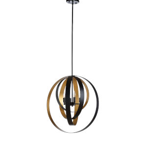 Gold and Black Four-Light 24-Inch Gyro Pendant
