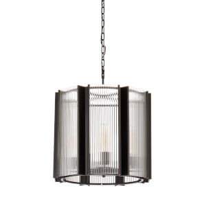 Black Eight-Light 21-Inch Theo Chandelier