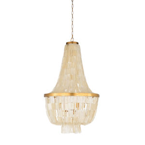 White and Gold Six-Light 24-Inch Ellison Chandelier