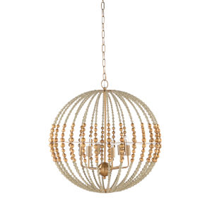 White and Gold Six-Light 24-Inch Gaze Chandelier