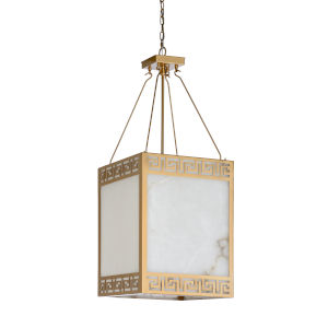 White and Gold Four-Light 16-Inch Athens Chandelier