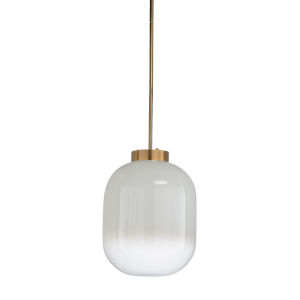 Brass and White One-Light 17-Inch Subway Pendant