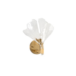 White and Gold One-Light 12-Inch Biloba Sconce
