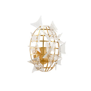 White and Gold One-Light 14-Inch Flutter Sconce