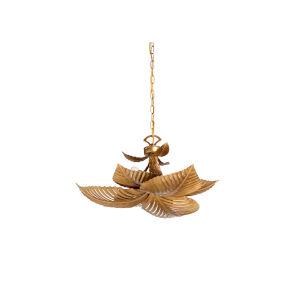 Gold Six-Light 24-Inch Naples Palm Chandelier