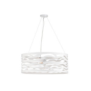 White Five-Light 30-Inch Silent Surf Drum Pendant