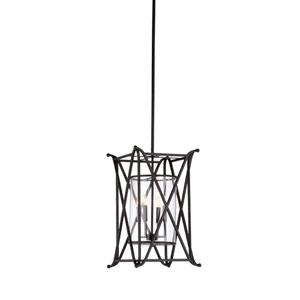 Black Four-Light 15-Inch Veranda Lantern Chandelier