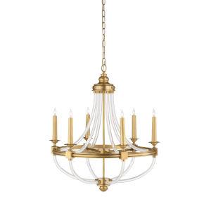 White and Gold Six-Light 28-Inch Prospect Chandelier