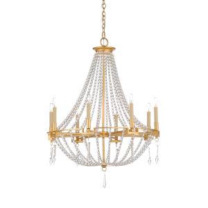 White and Gold Eight-Light 27-Inch Antoinette Pendant