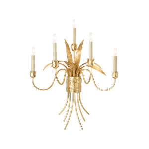 White and Gold Five-Light 23-Inch Mignon Sconce