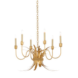 White and Gold Six-Light 25-Inch Mignon Chandelier
