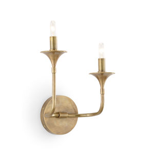 White and Gold Two-Light 11-Inch Loren Sconce