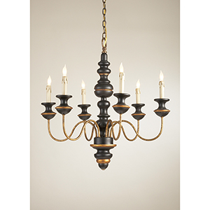 Black and Gold Six-Light Stockholm Chandelier