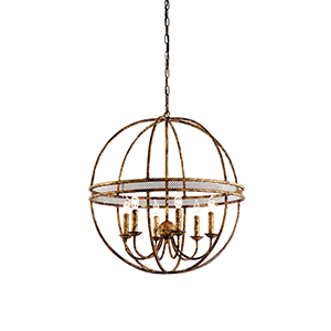 Gold Six-Light Tuscan Chandelier