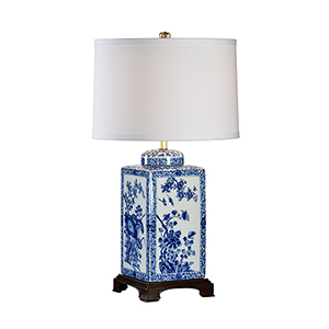 Blue One-Light Lotus Table Lamp