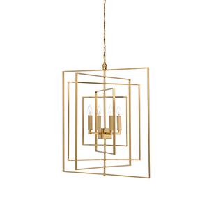 Lisa Kahn Antique Brass Four-Light Cube Chandelier