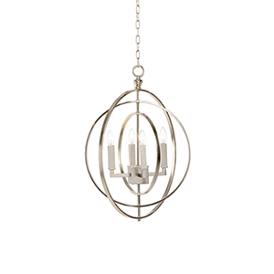 Lisa Kahn Silver Four-Light Round Chandelier