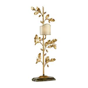 Gold One-Light Oak Leaf Lamp - Left