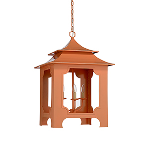 Claire Bell Peach Three-Light Tole Pagoda Lantern