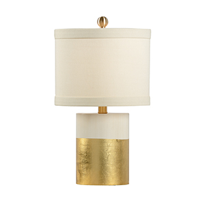 Pam Cain Cream and Gold One-Light Banded Table Lamp
