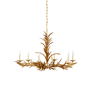 Claire Bell Gold Six-Light Laurel Sunburst Chandelier