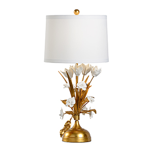 Melea Markell Gold One-Light French Flower Lamp