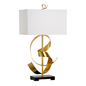 Gold One-Light Ribbon Twirl Table Lamp